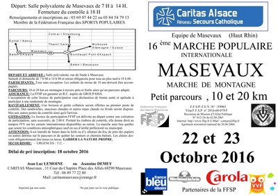2016 Marche Populaire Masevaux Tract Page 1